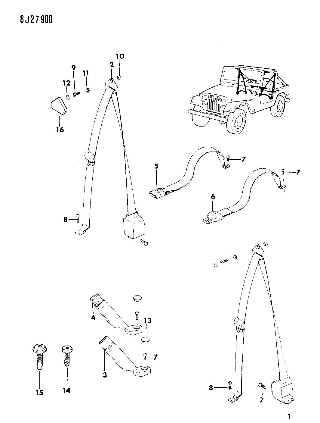 3 Point Harness Rear Of Yj 3 Point Wire ~ Elsavadorla