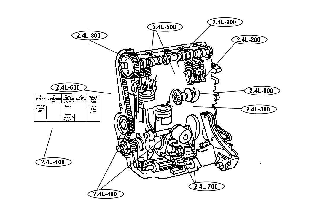 1999 Dodge Stratus Engine 2.4L Four Cylinder