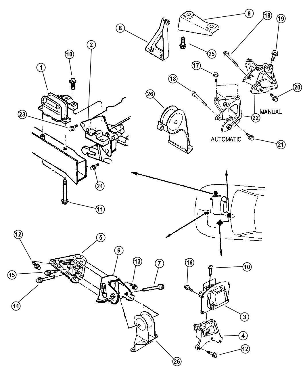 Dodge Stratus Module. Engine support. Rear. 2.0l engine