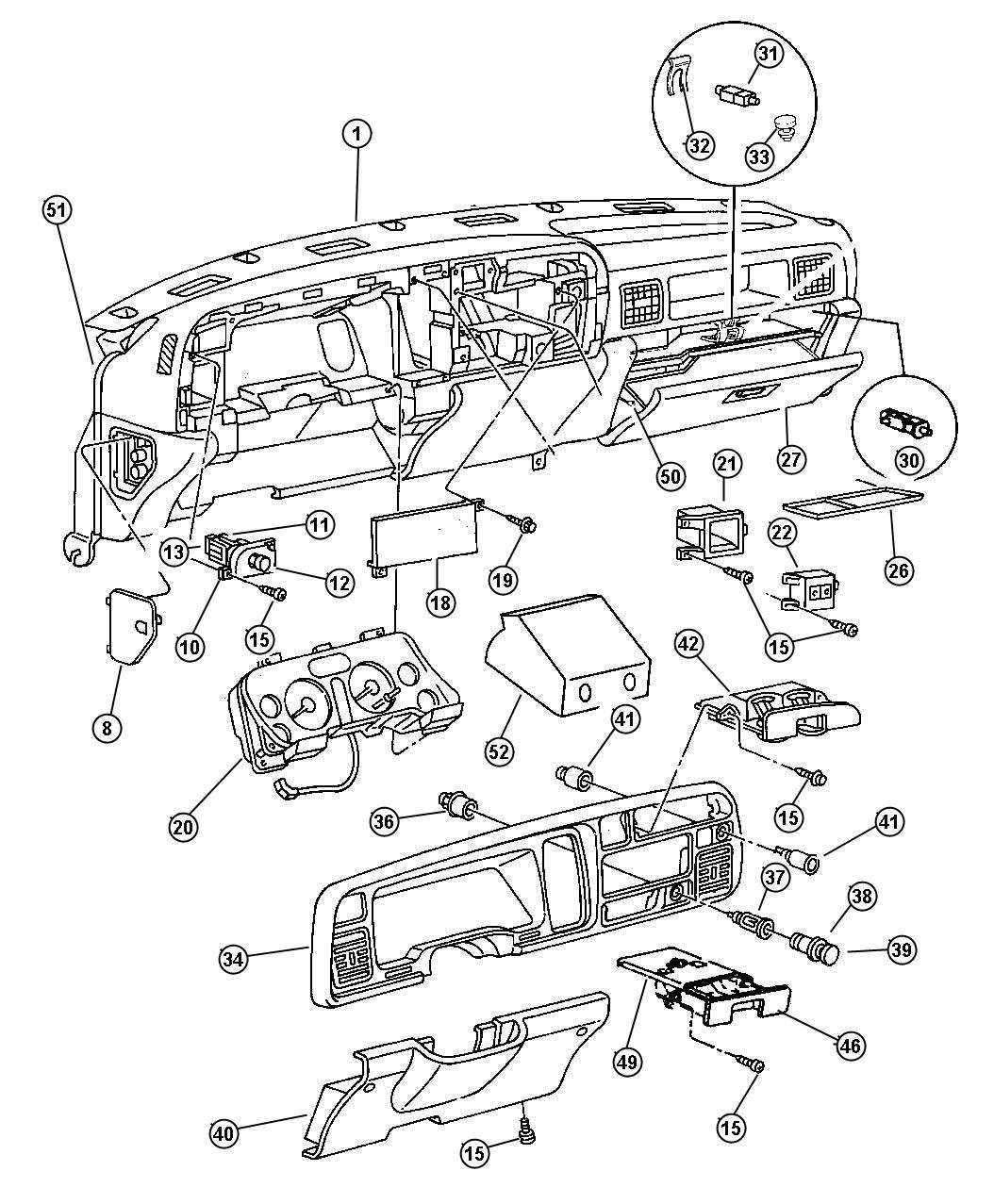 1997 Dodge Ram 1500 Panel. Instrument upper. Trim: [all
