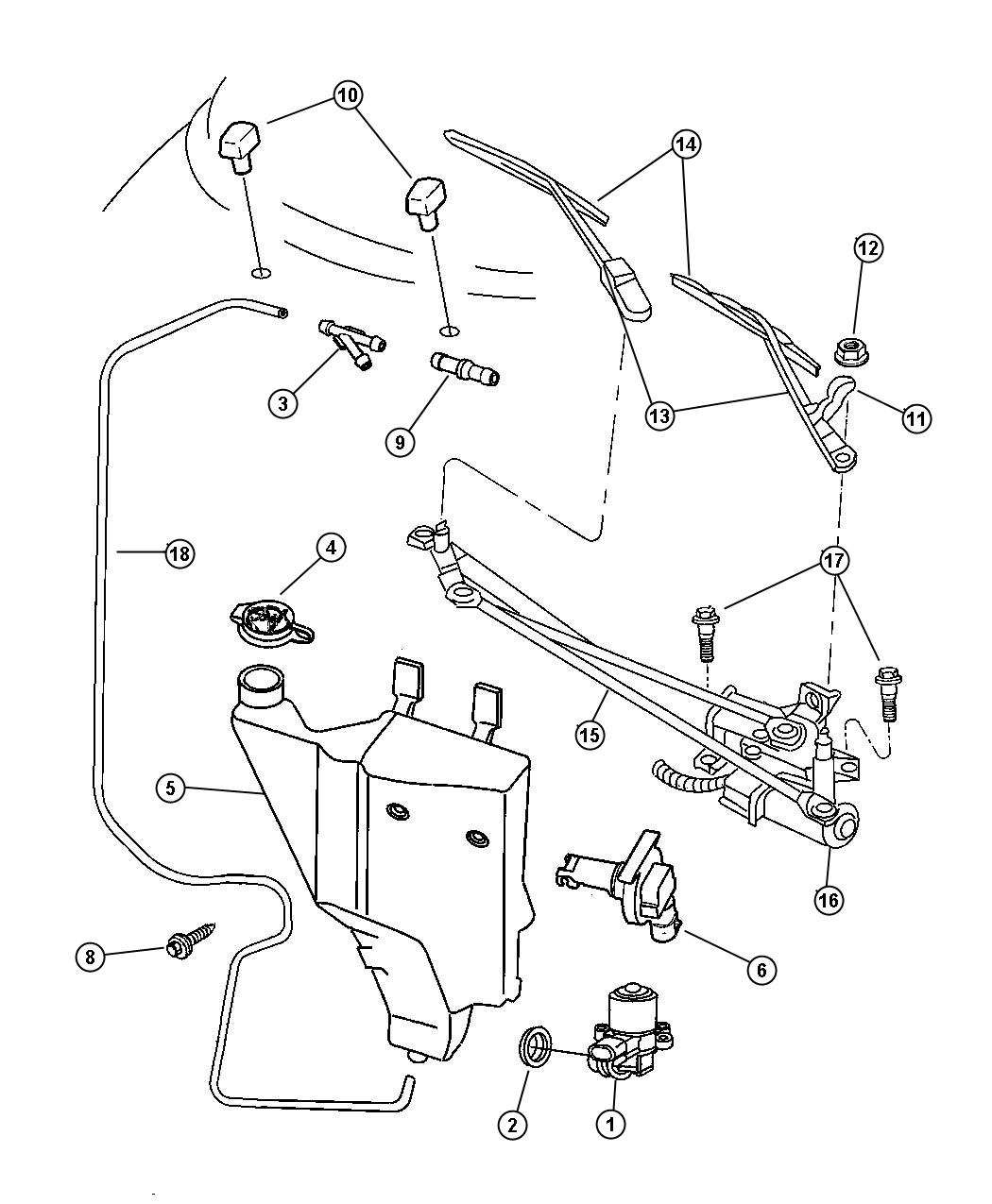 Chrysler Sebring Jxi Convertible Windshield Wiper And Washer System