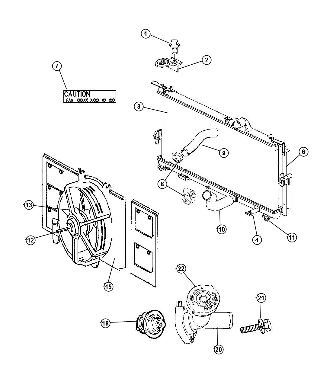 1998 Plymouth Neon Radiator and Related Parts.