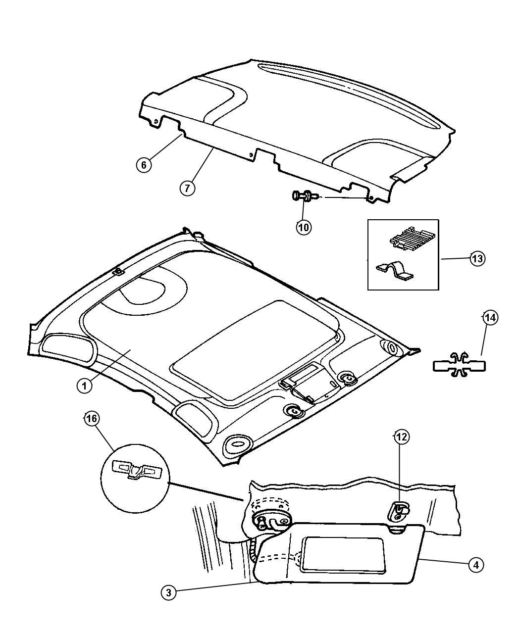 Service manual [1999 Dodge Intrepid Visor Installation