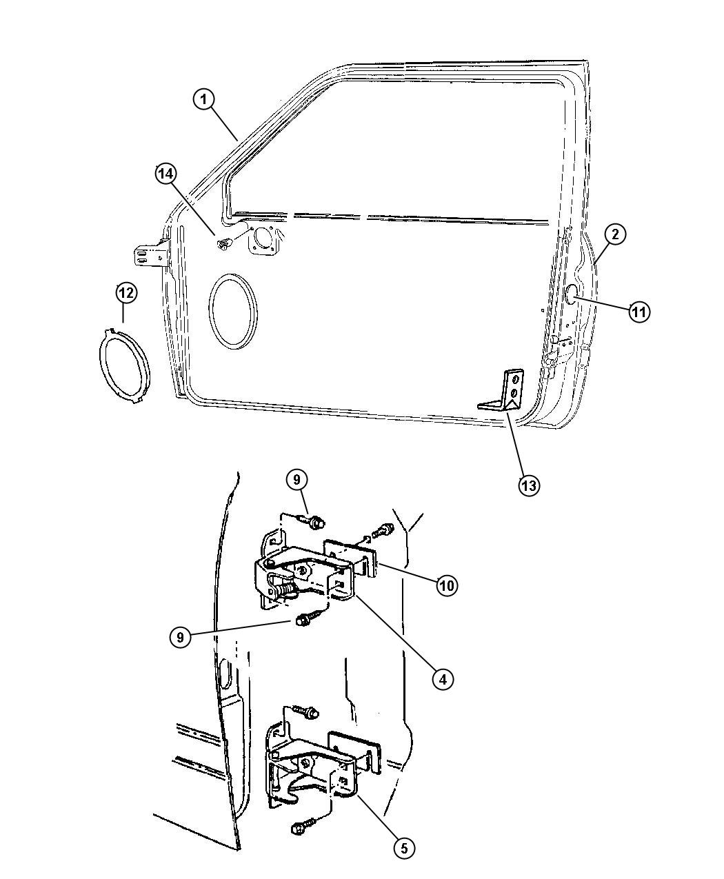 Dodge Ram Door Front Shell And Hinges