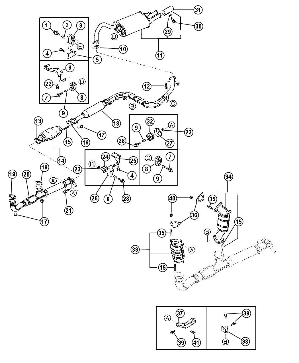 Chrysler Sebring Pipe. Exhaust. 3 oxygen hole, 3 oxygen