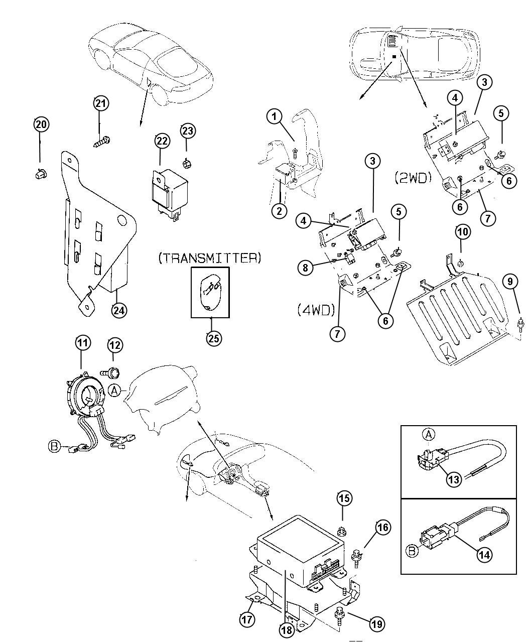 1996 Dodge Avenger Wiring. Air bag adapter. Srs airbag
