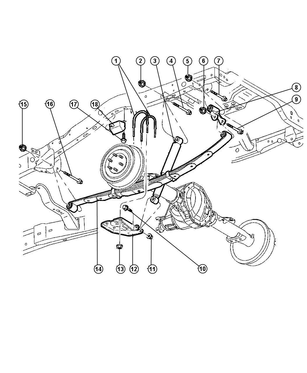 1998 Dodge Durango Suspension, Rear Leaf Spring And Shock