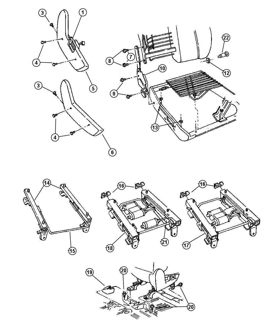 Dodge Ram 2500 Shield. Seat adjuster. Left, manual. [az