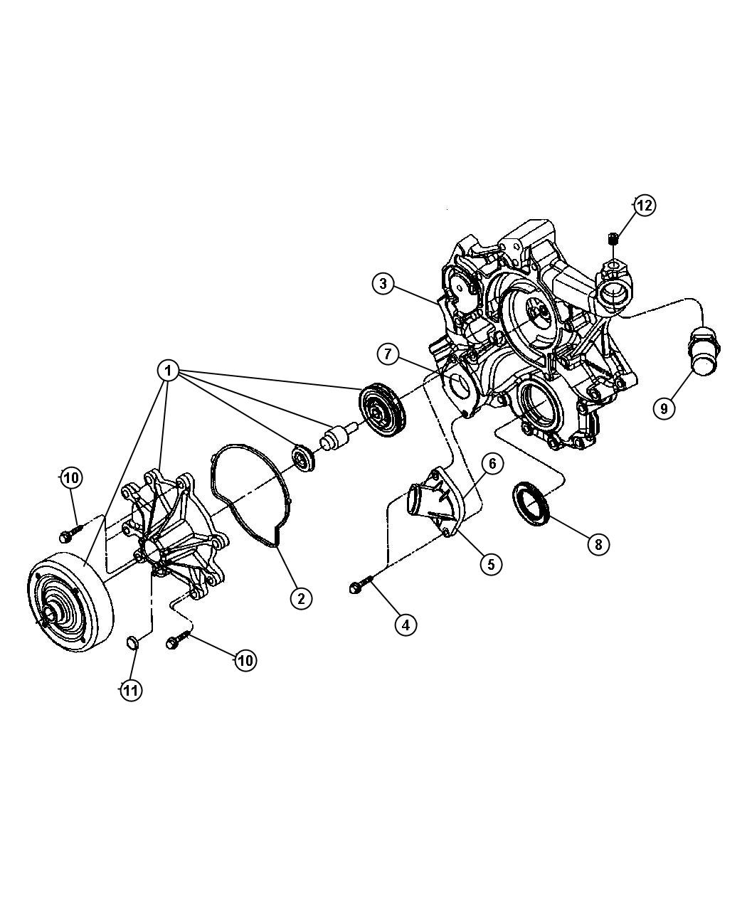 Durango Water Pump And Related Parts 4 7l Engine