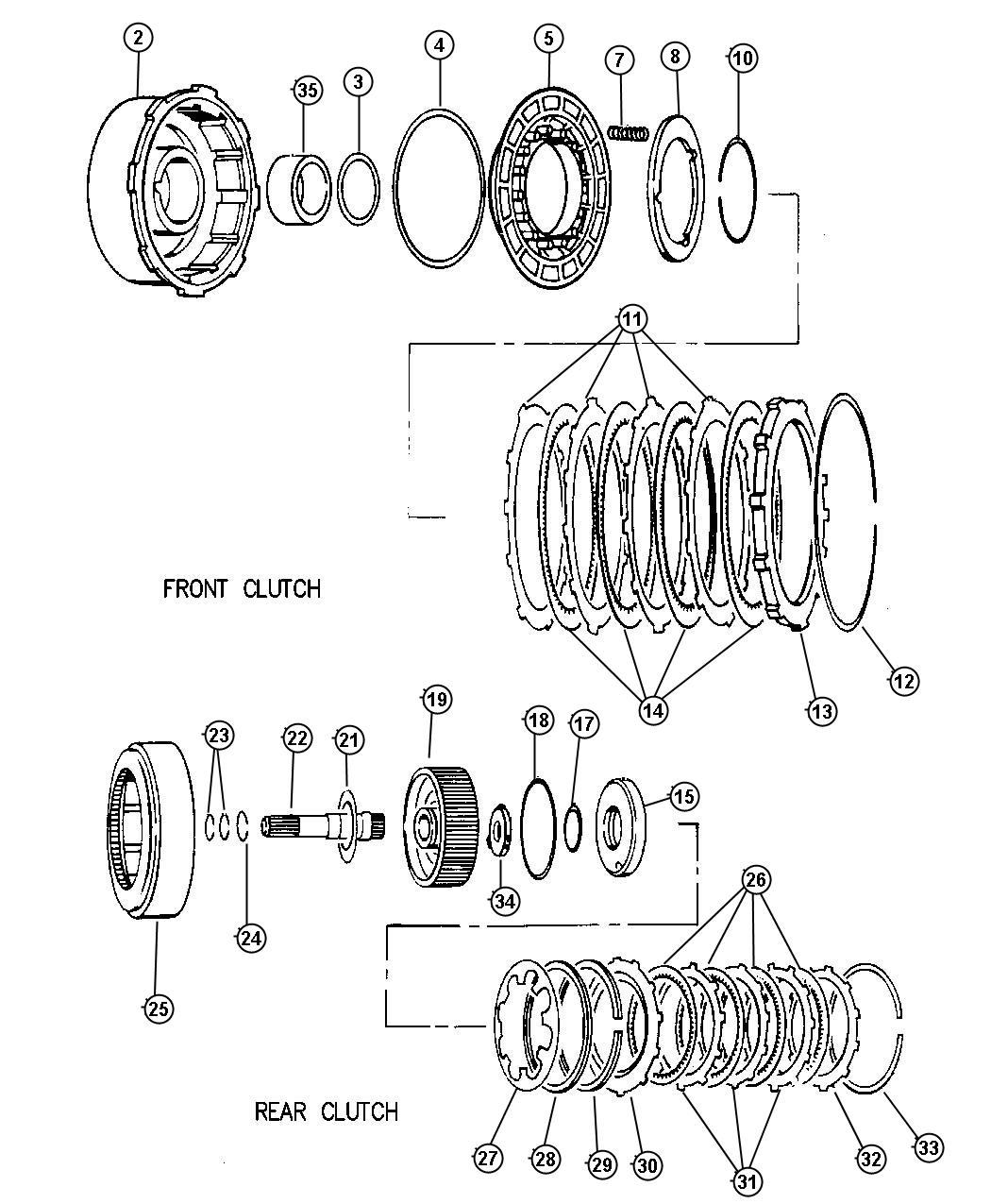 Clutch Front And Rear 46re Transmission