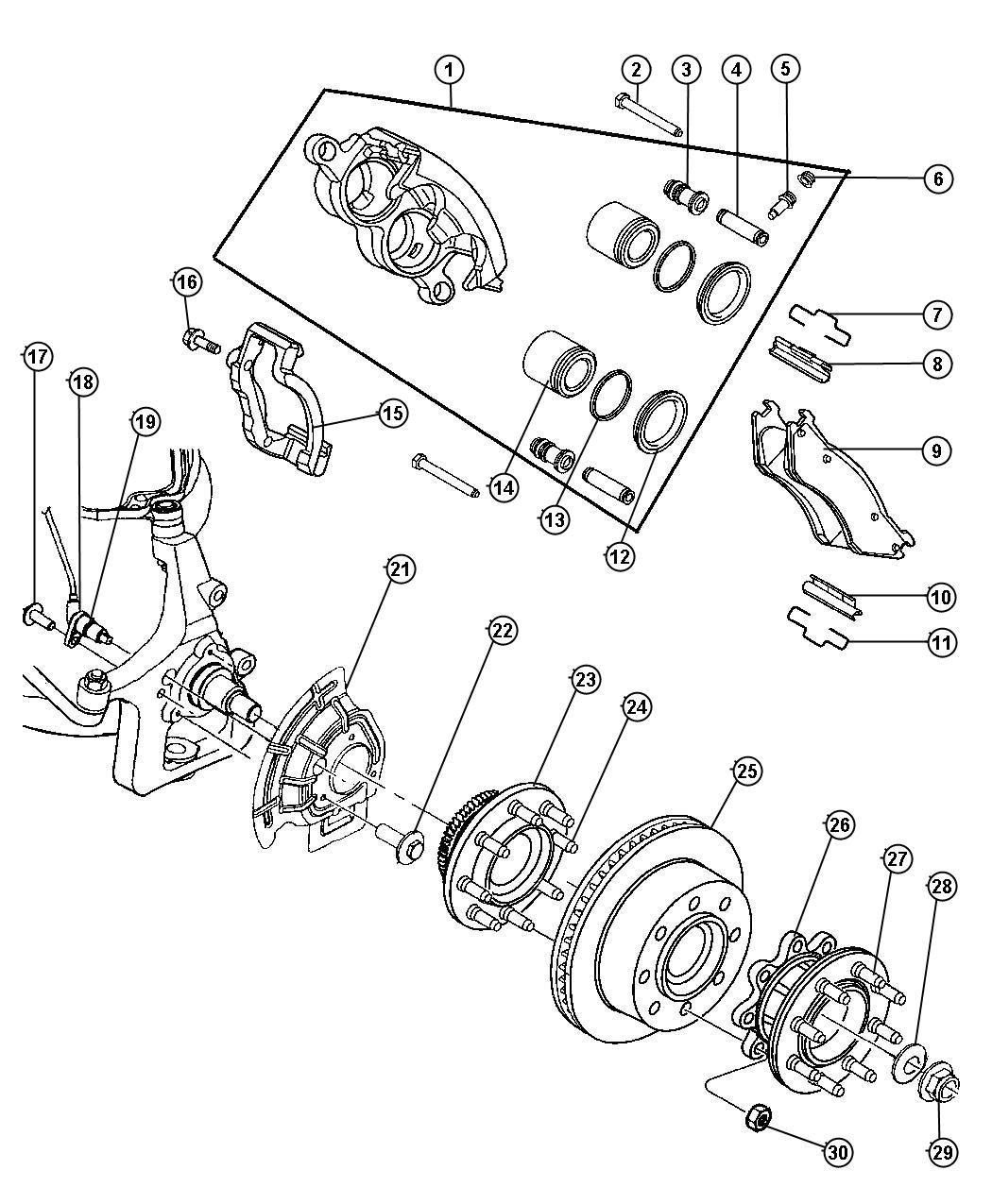 2000 Dodge Ram 2500 Clip. Brake anti-rattle. Trailing