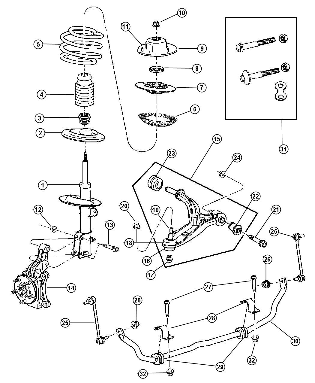 2001 Chrysler Town & Country Suspension, Front.
