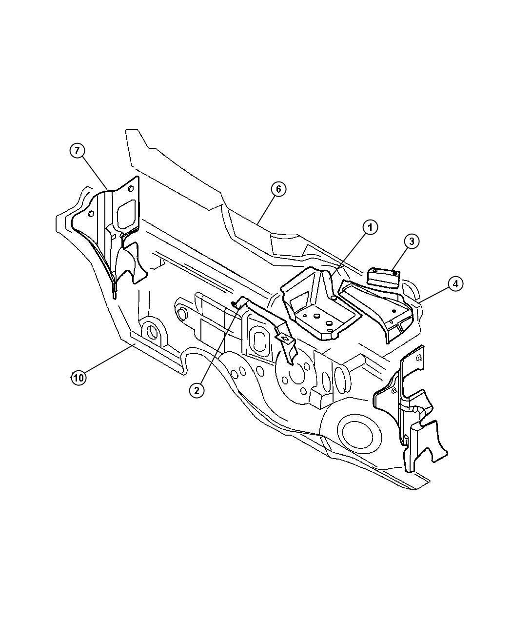 Jeep Wrangler Clip, nameplate, nut. Dash panel, silencer