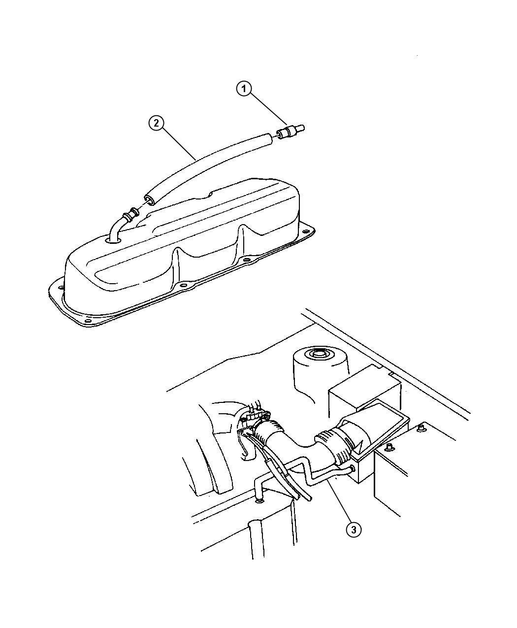 Chrysler Pt Cruiser Hose. Pcv valve to intake manifold