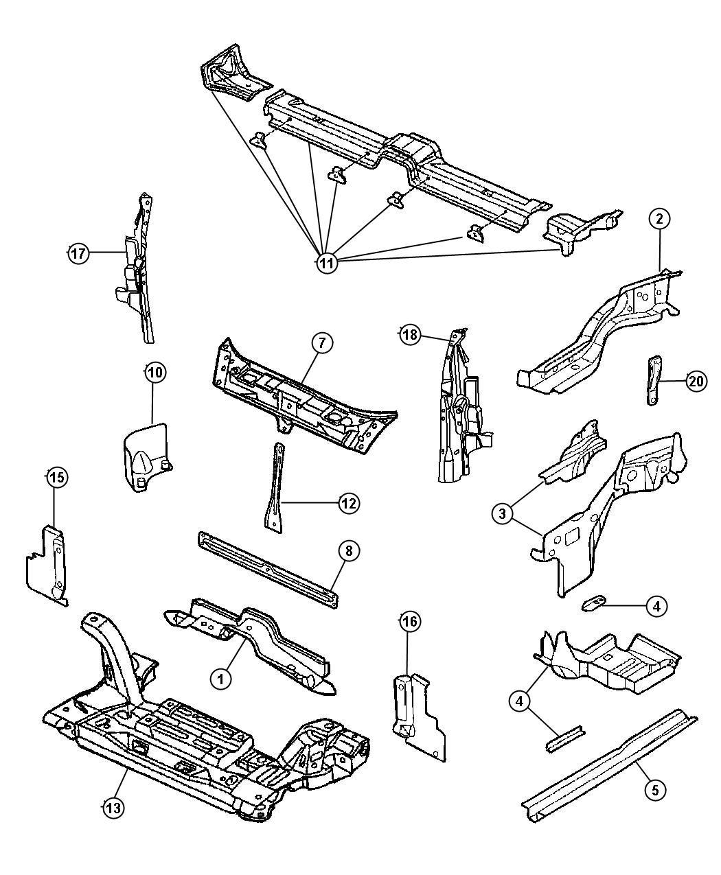 Chrysler Pt Cruiser Strut. Front suspension. Crossmember