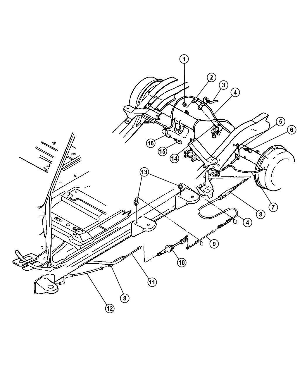 2000 Dodge Dakota Tensioner. Parking brake cable. [bka