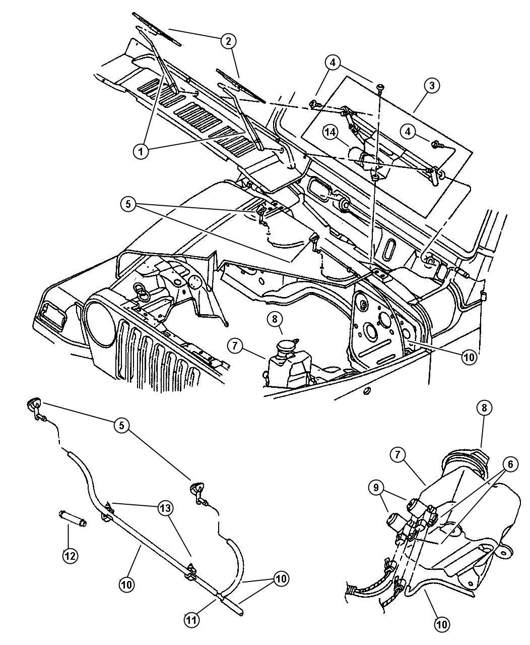 1998 Jeep Wrangler Wiper System.