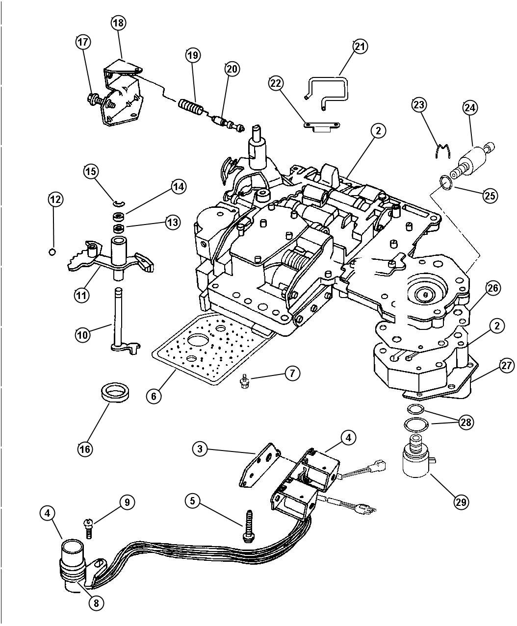 Dodge Dakota Lever, valve body assembly. Manual valve