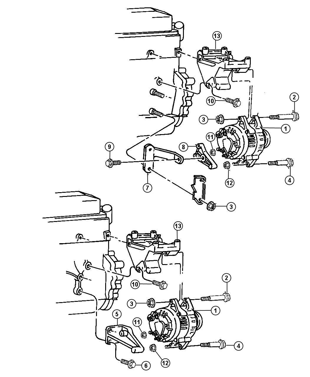 1995 Jeep wrangler alternator bracket