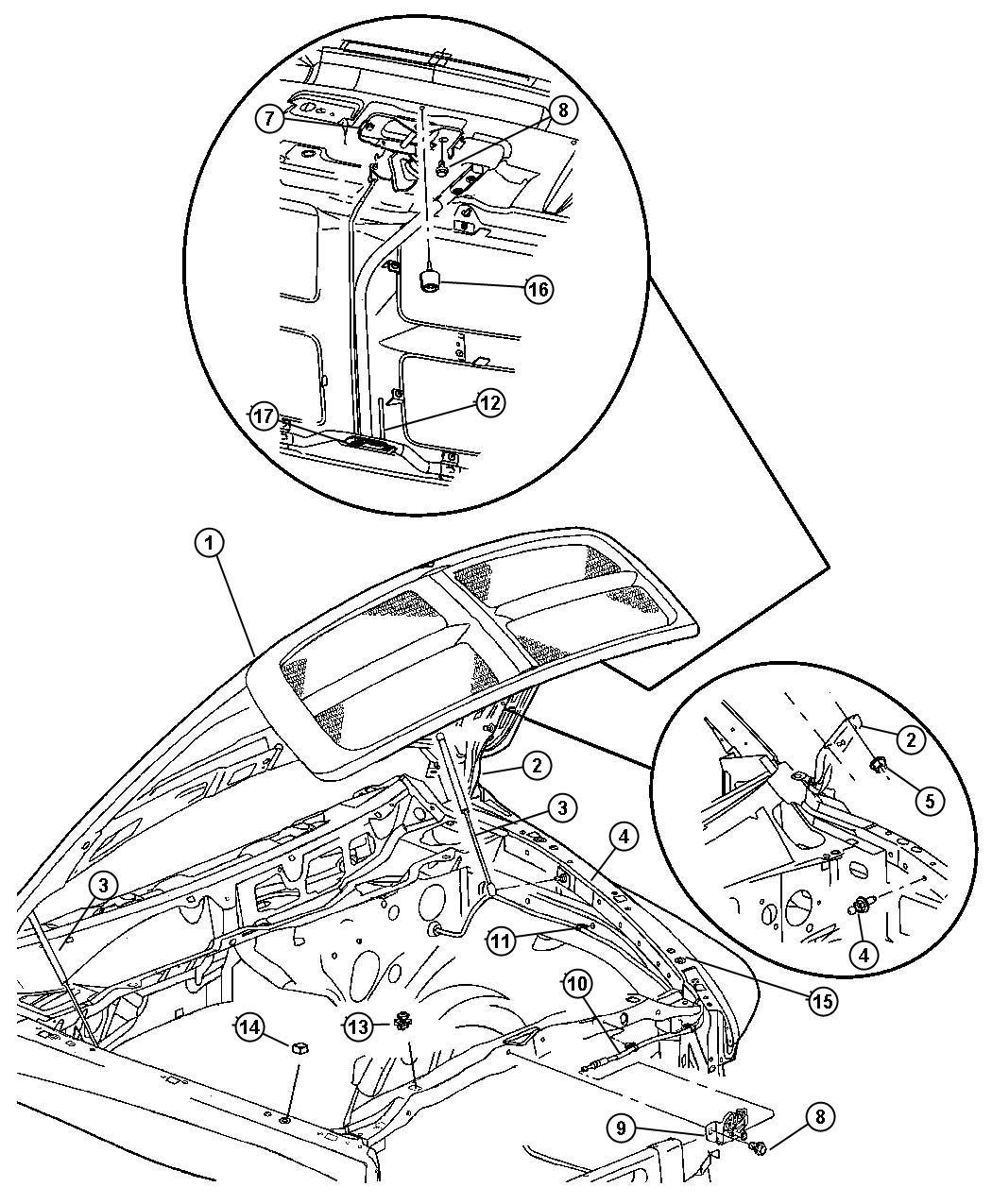 Dodge Ram 1500 Retainer. Hood latch release rod