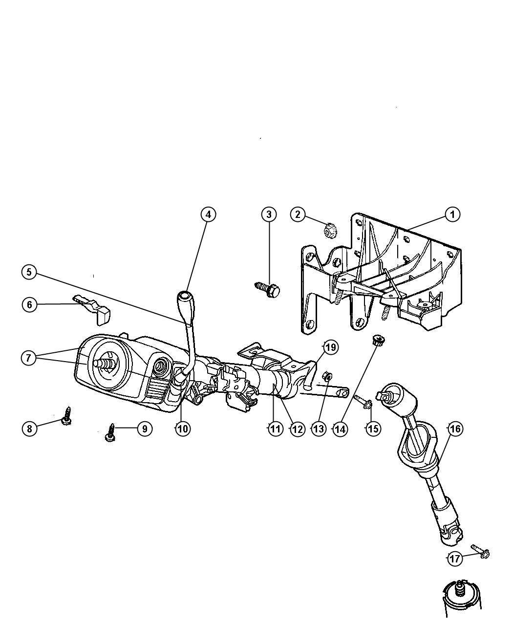 Dodge Dakota Lever, lever assy. Tilt column release, with