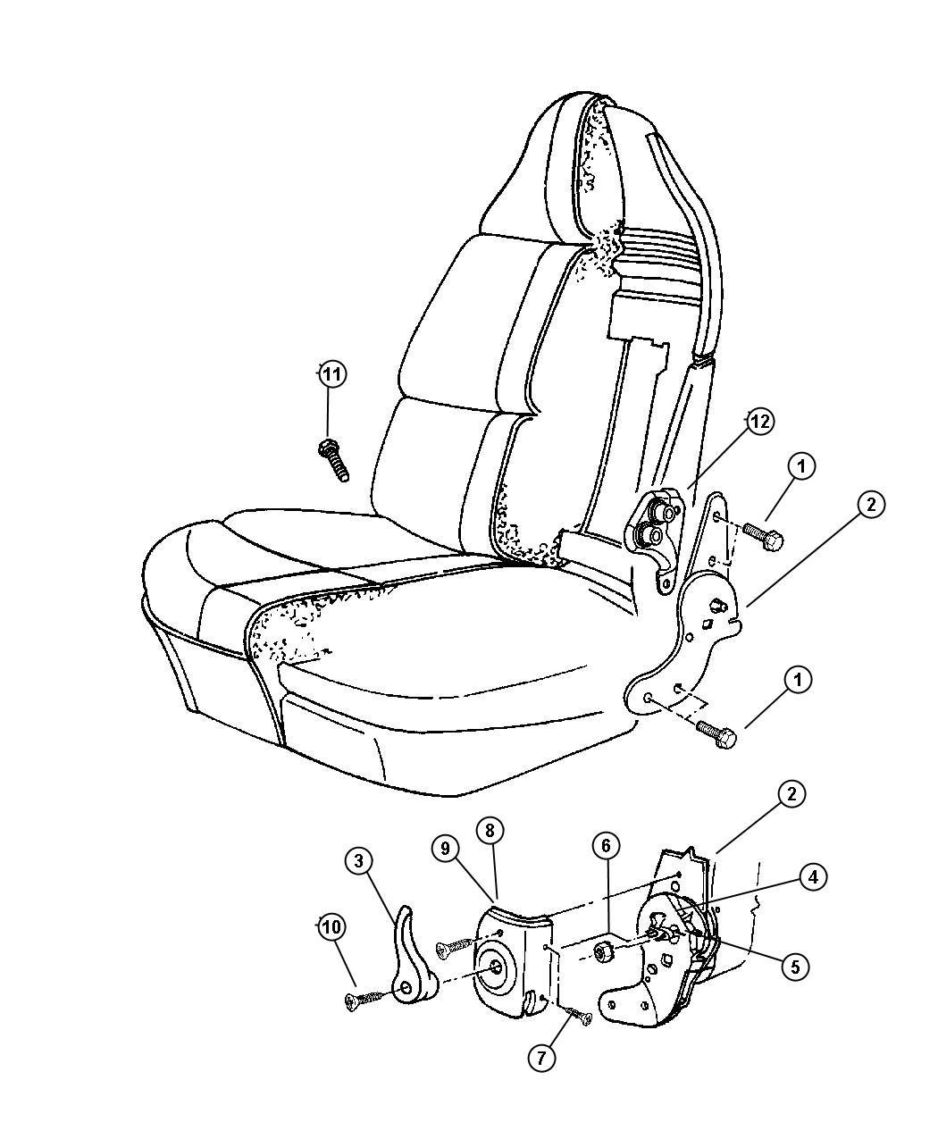 2007 Dodge Dakota Handle. Recliner, seat recliner. Left