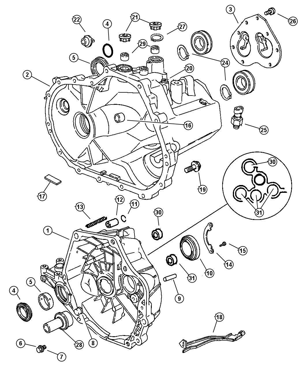 Chrysler Cirrus LX Bearing package. Output shaft