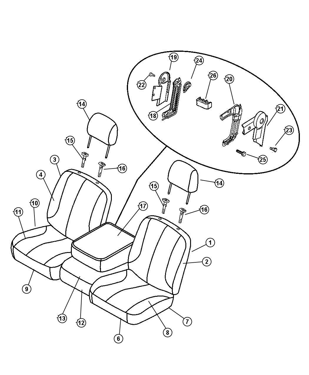 2003 Dodge Ram 1500 Pad. Front seat cushion. Trim: (*vl