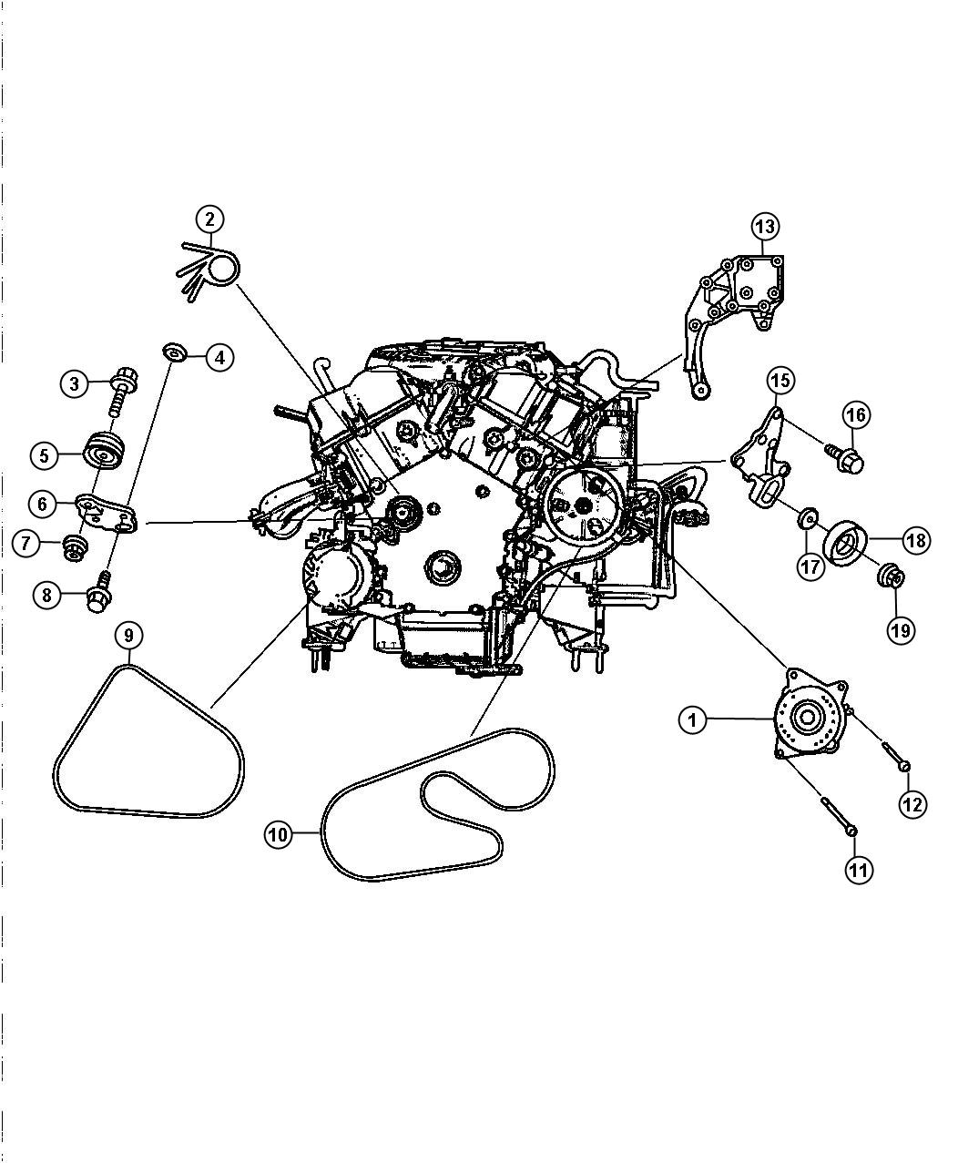 Dodge Intrepid Bracket Power Steering Pump Idler Pulley