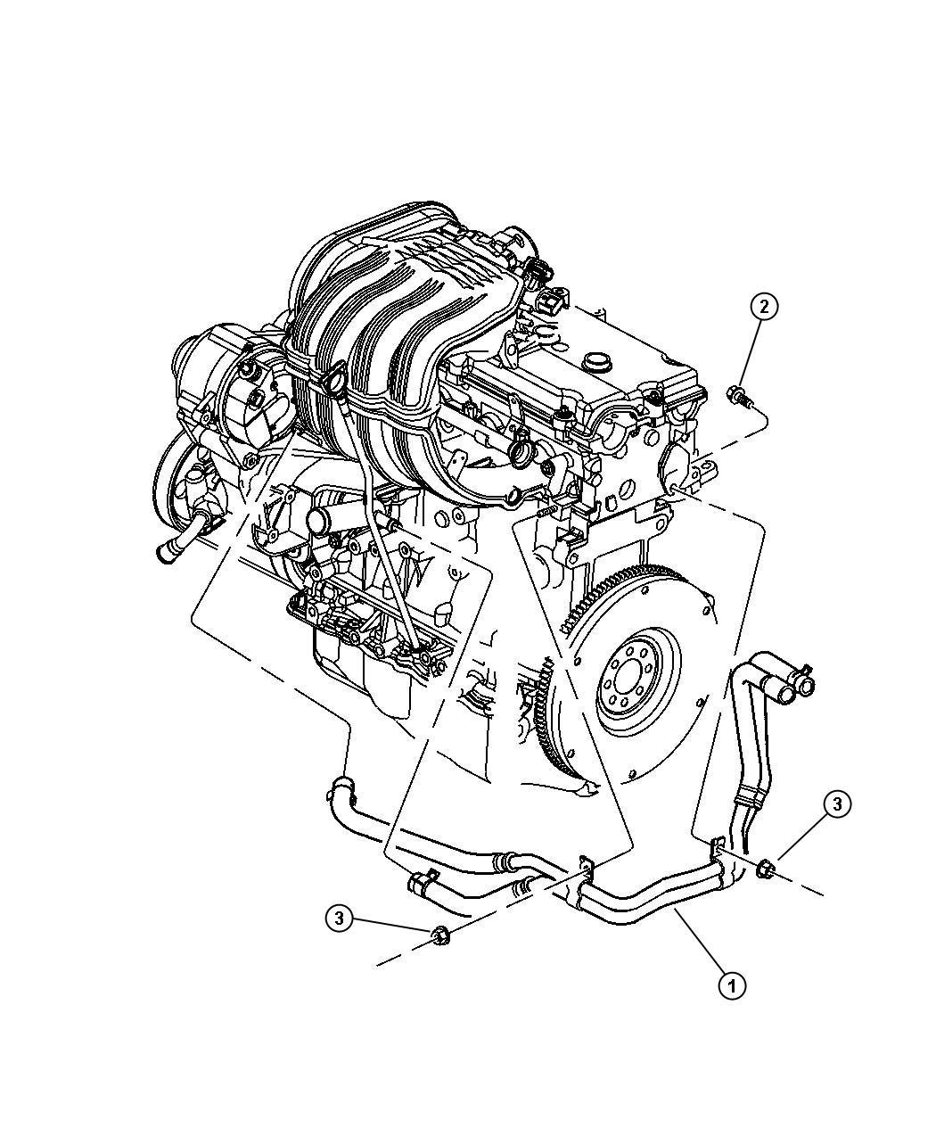 2003 Jeep Liberty Plumbing, Heater 2.4L Engine, LHD.