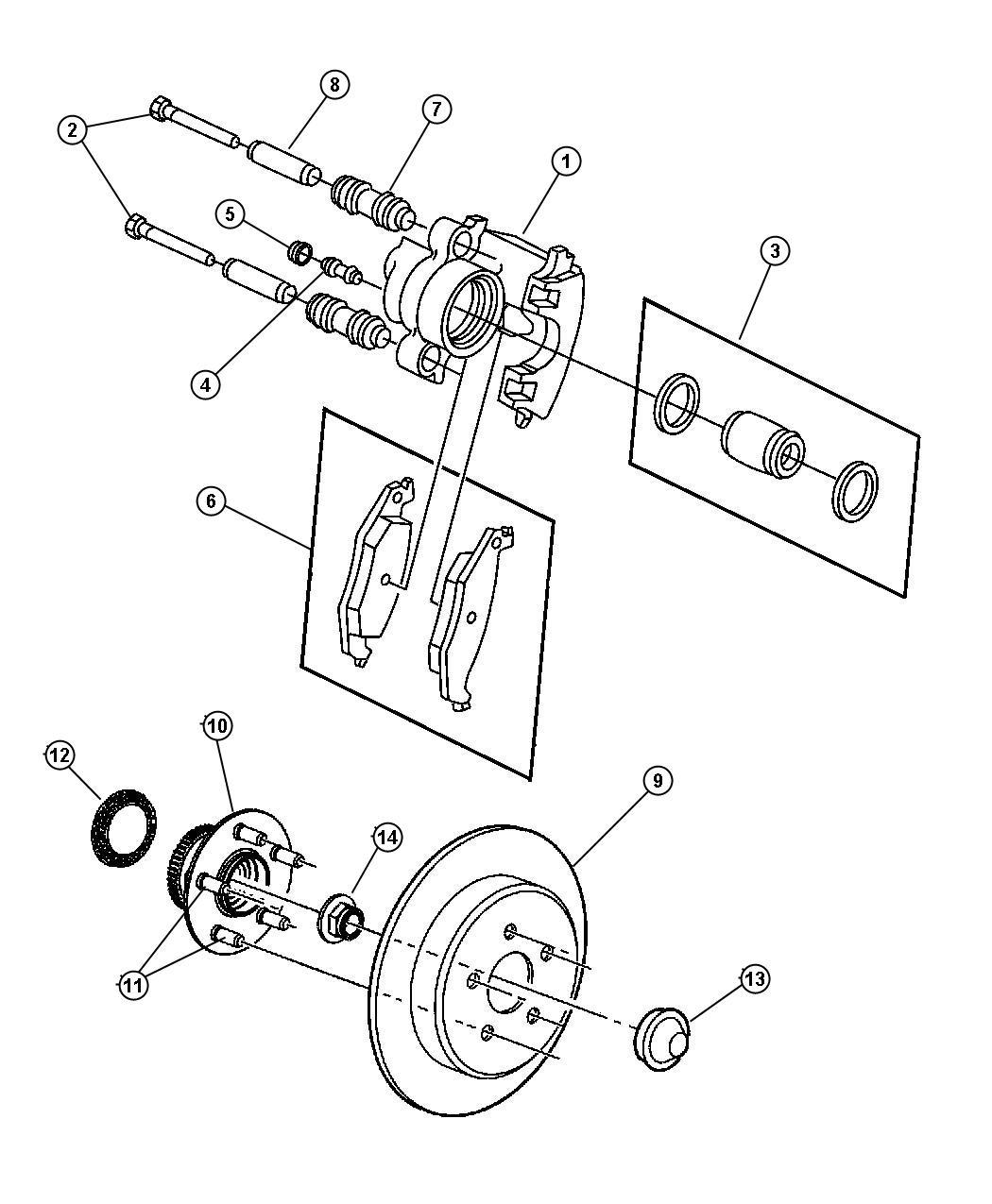 Chrysler Pt Cruiser Cap. Wheel bearing. (dust), rear wheel