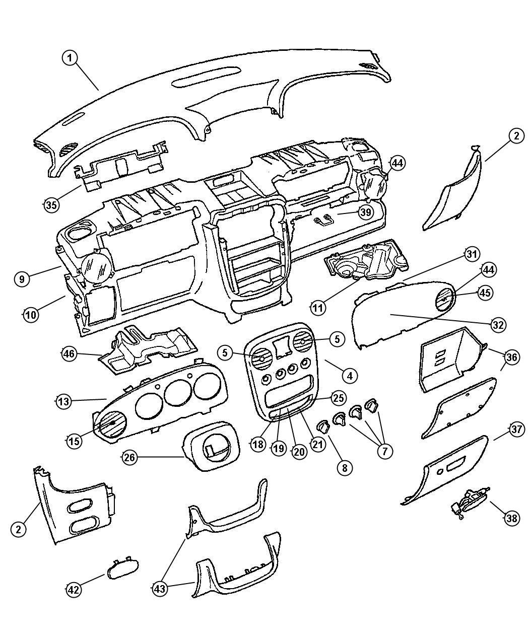 2003 Chrysler Pt Cruiser Switch. Export. Headlamp leveling