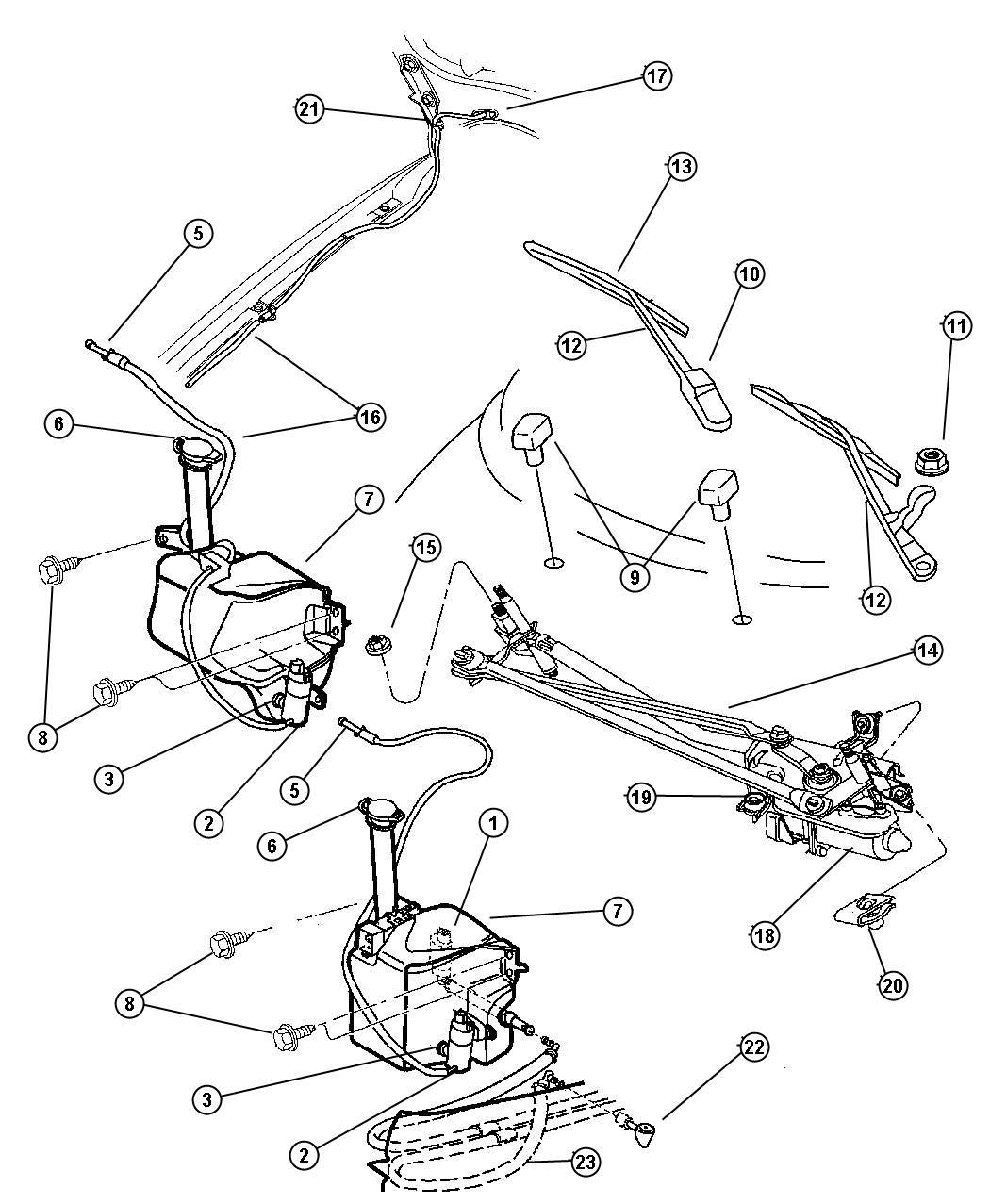 Chrysler Sebring Nozzle Windshield Washer Up To 12 17 04
