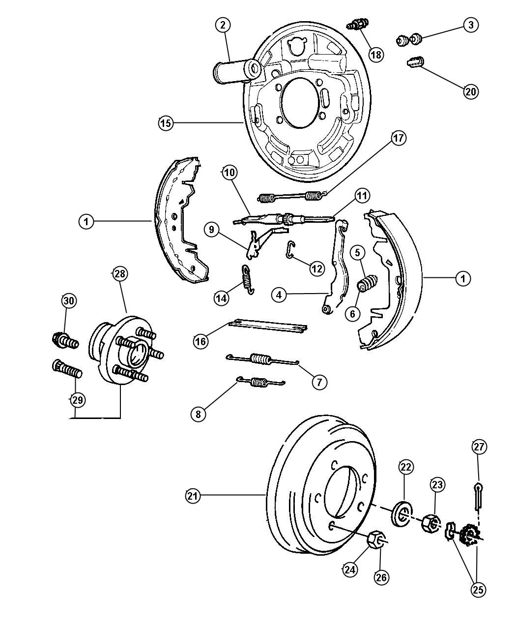 Dodge Grand Caravan Backing plate. Rear drum brake. Right