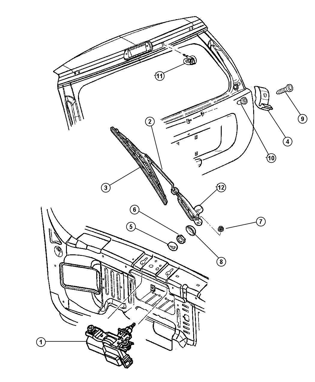 Jeep Liberty Cap, cover. Rear wiper arm, rear wiper motor