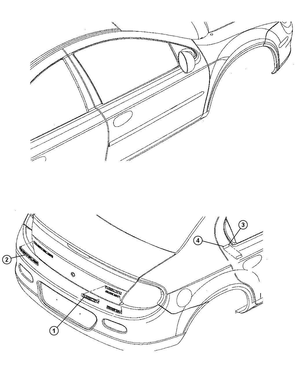 2000 Dodge Neon Nameplate. Chrysler, deck lid. [badge