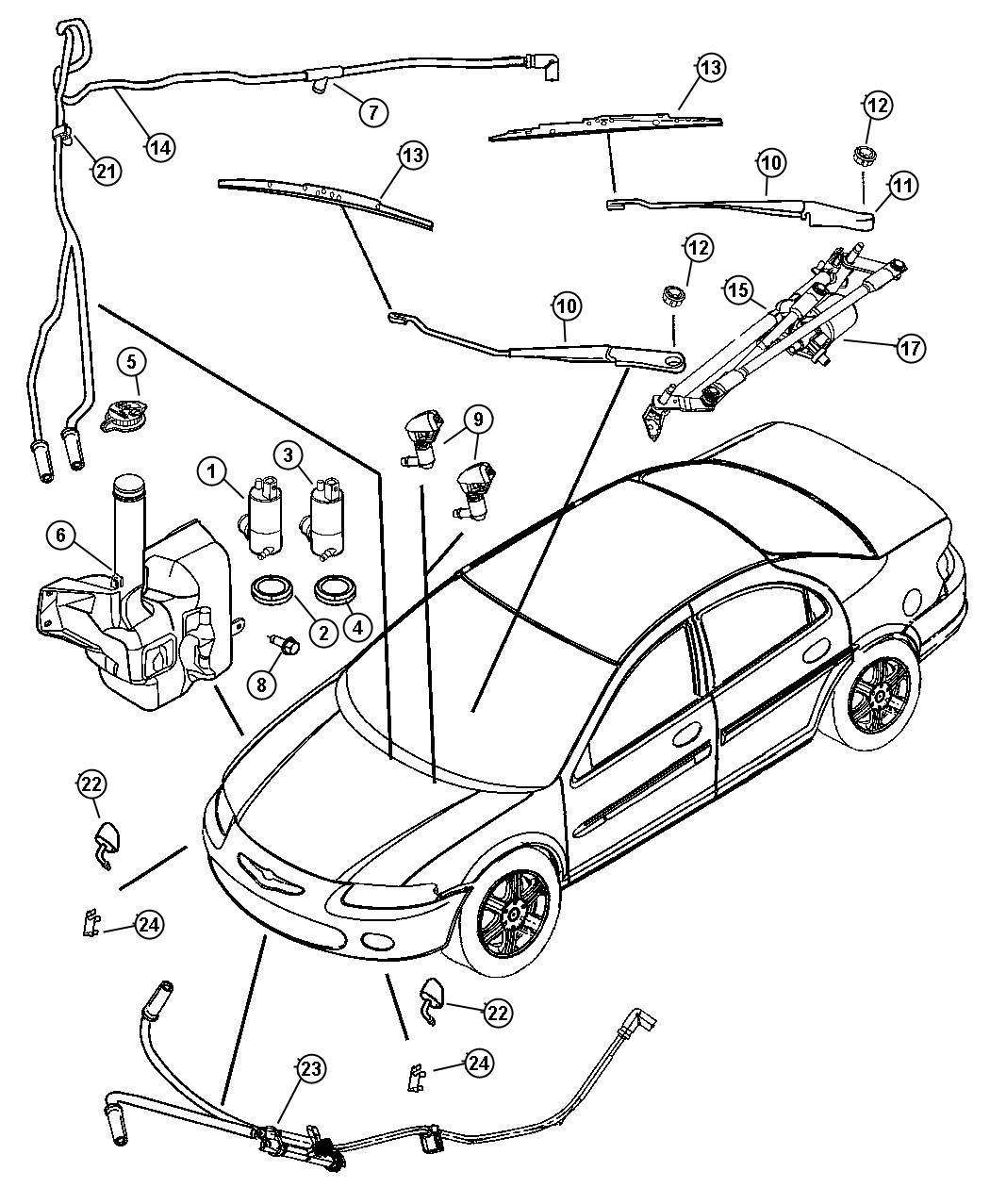 Chrysler Sebring Windshield Washer And Wiper System