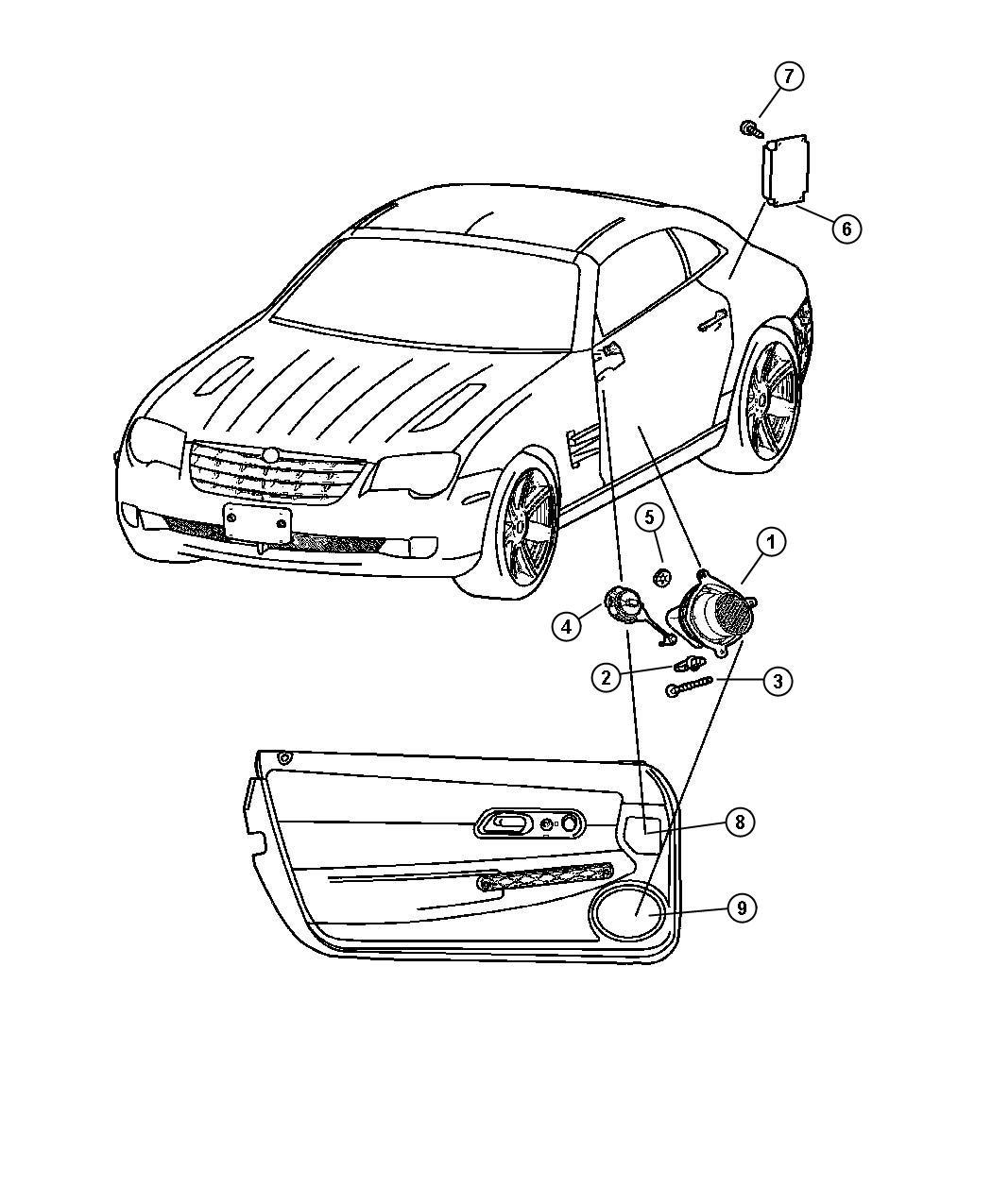 2004 Chrysler Crossfire Speaker. Right. Sub woofer