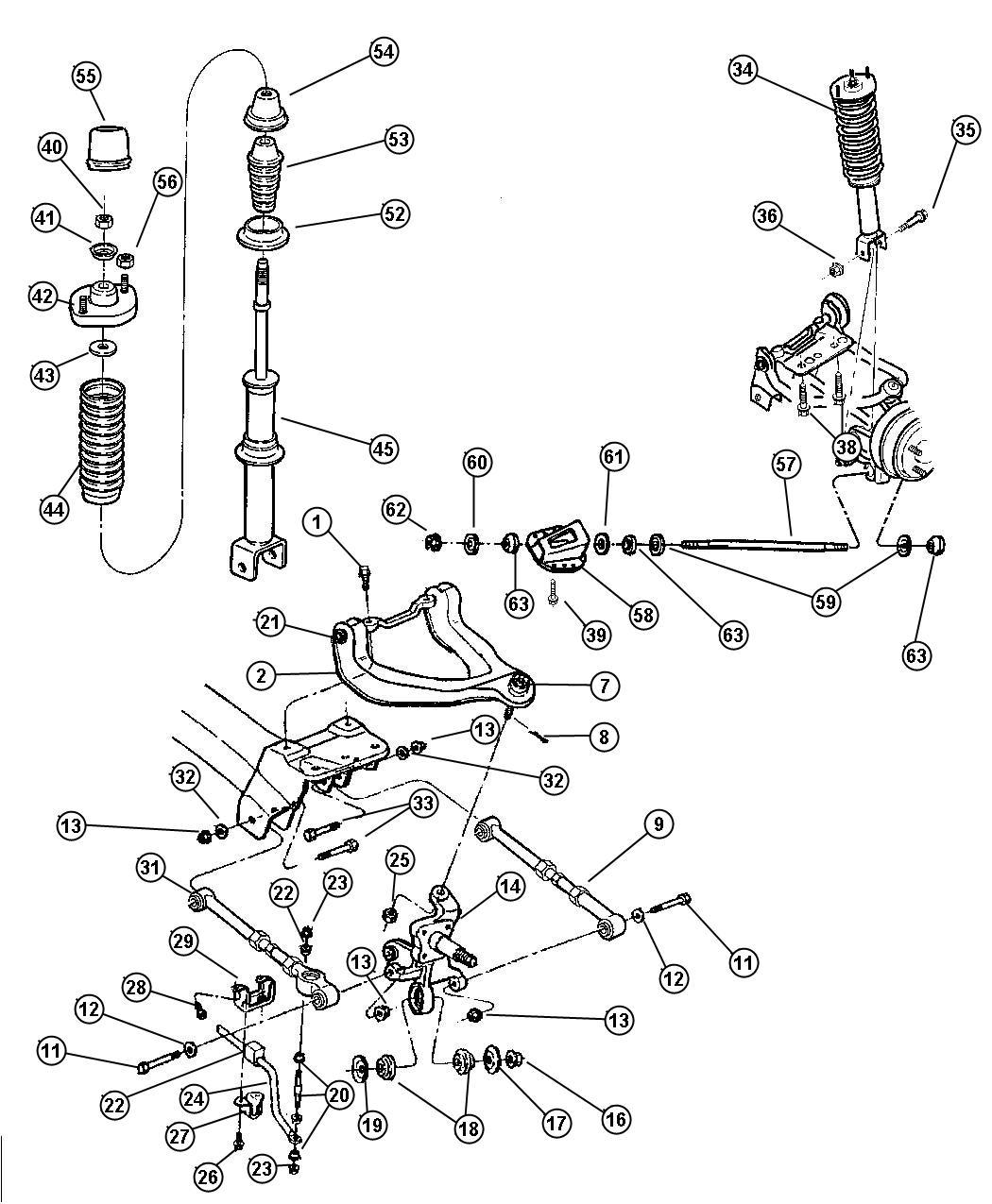 1998 Chrysler Sebring Suspension, Rear.