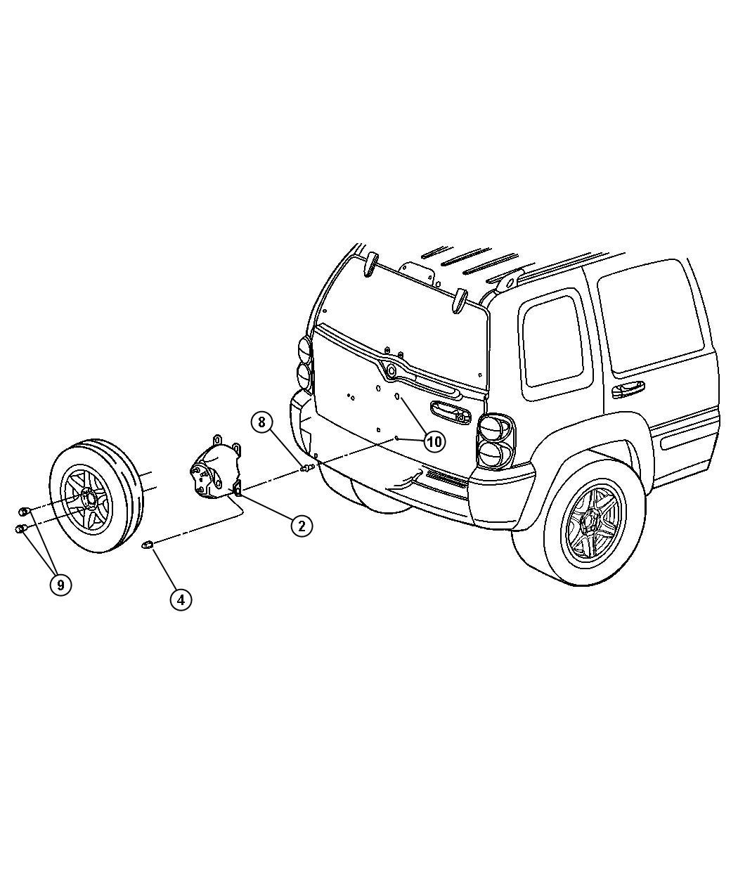 Jeep Liberty Stud. [tbr], spare tire carrier attaching