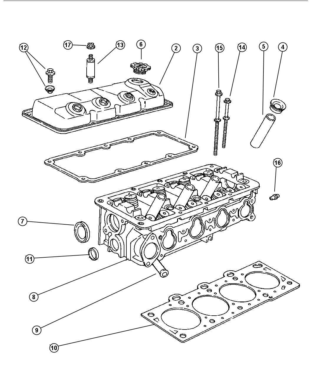 1999 Plymouth Breeze Cylinder Head 2.0L 4 Cyl SOHC (ECB)