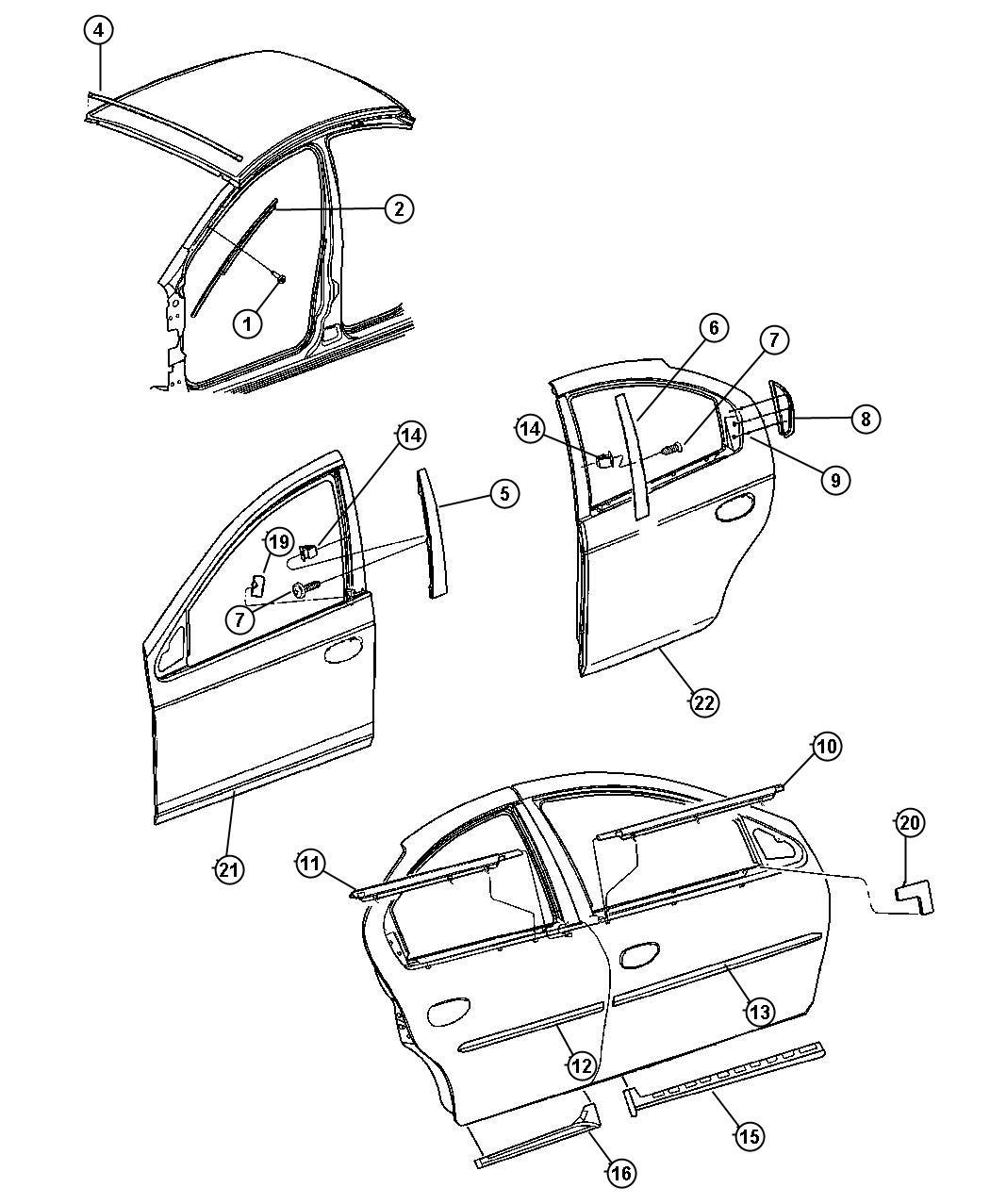 2004 Dodge Neon Weatherstrip. Right. Rear door belt