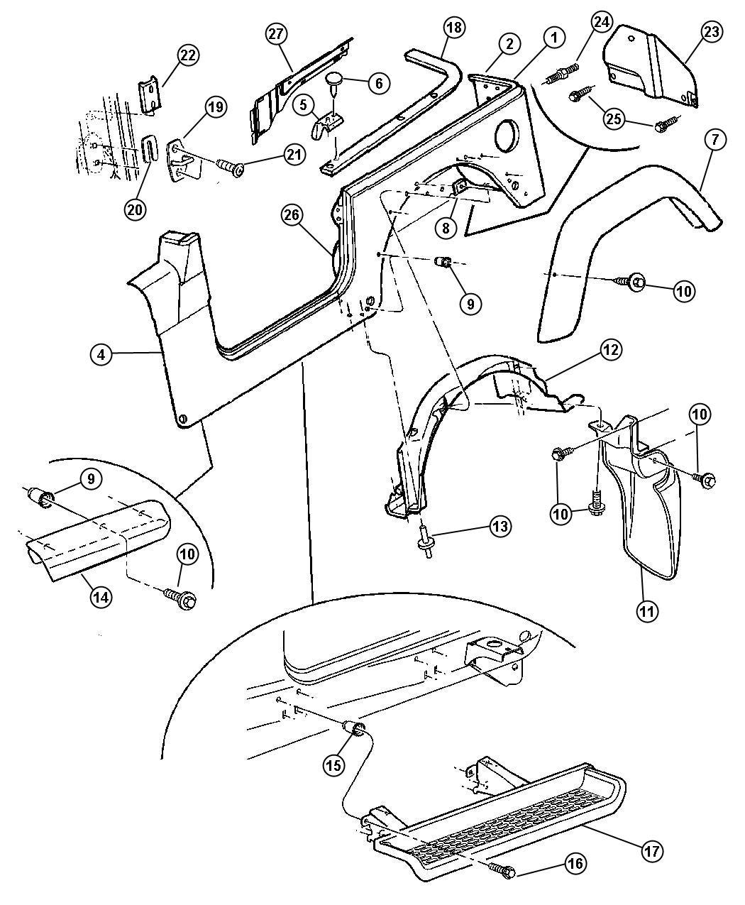 Jeep Wrangler Shield. Right. Splash. Liner, rear