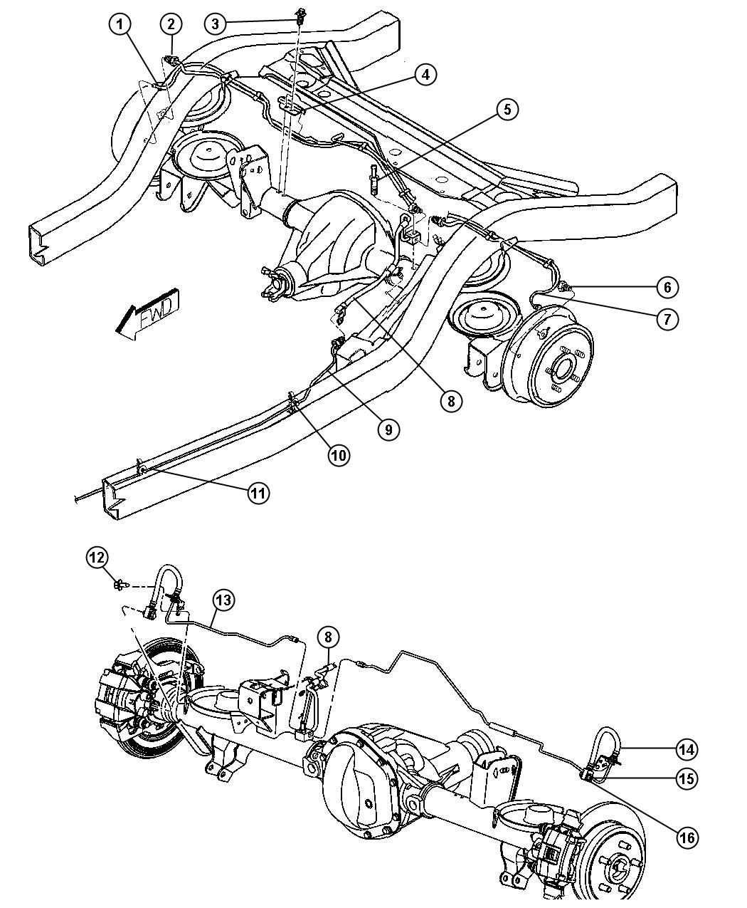 2004 Jeep Wrangler X Brake Lines and Hoses,Rear,LHD With ABS.
