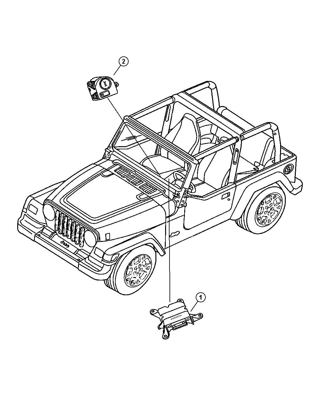 2001 Jeep Wrangler Switch. Passenger airbag disarm. Air