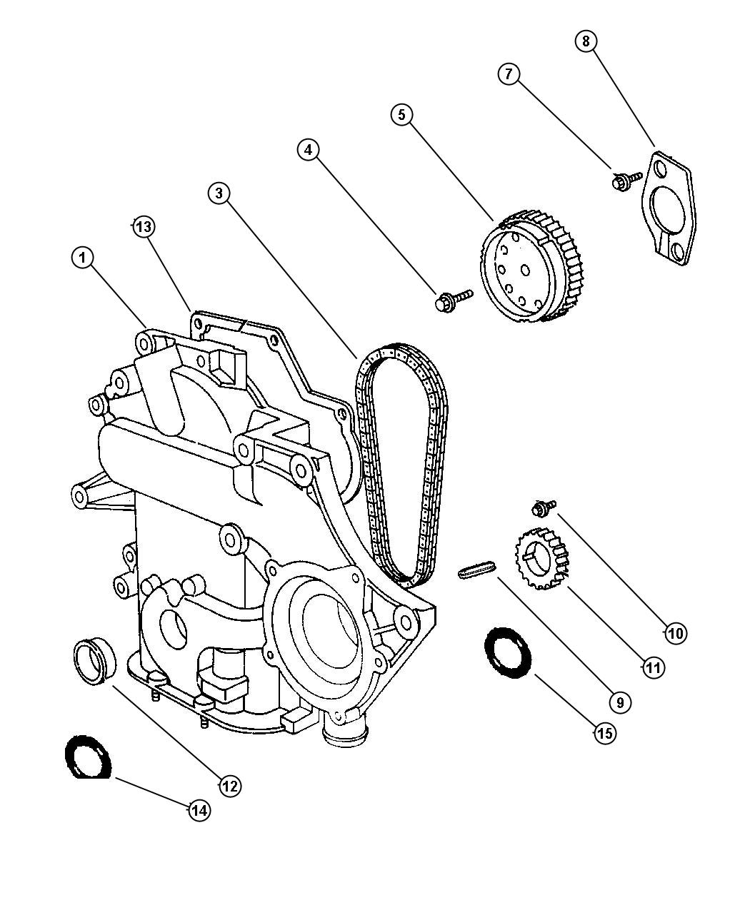 Plymouth Voyager Timing Chain and Cover 3.8L EGH Engine.