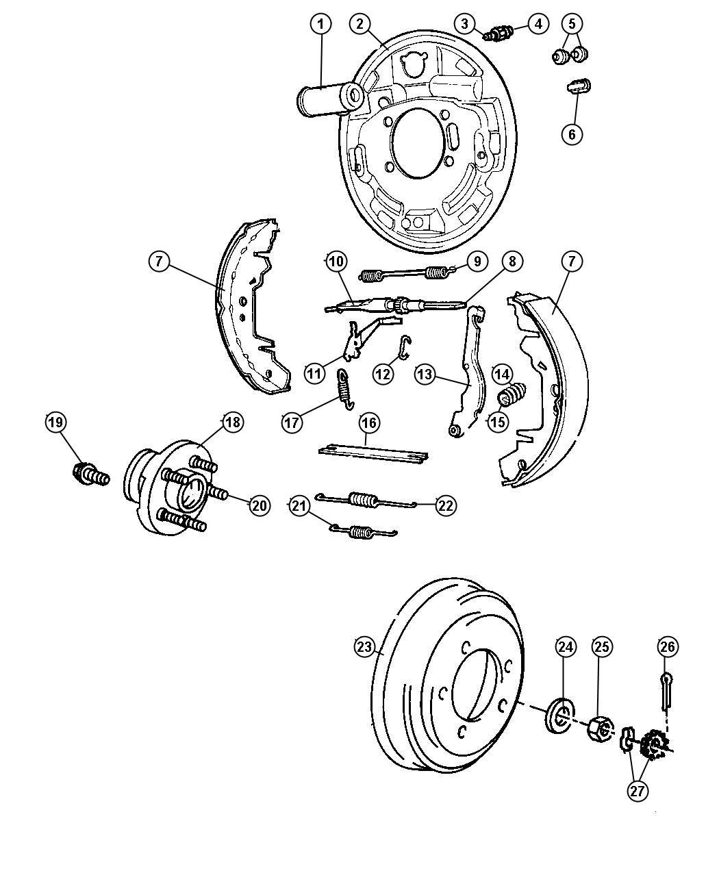 Chrysler Grand Voyager Bolt. Mounting. Wheel cylinder