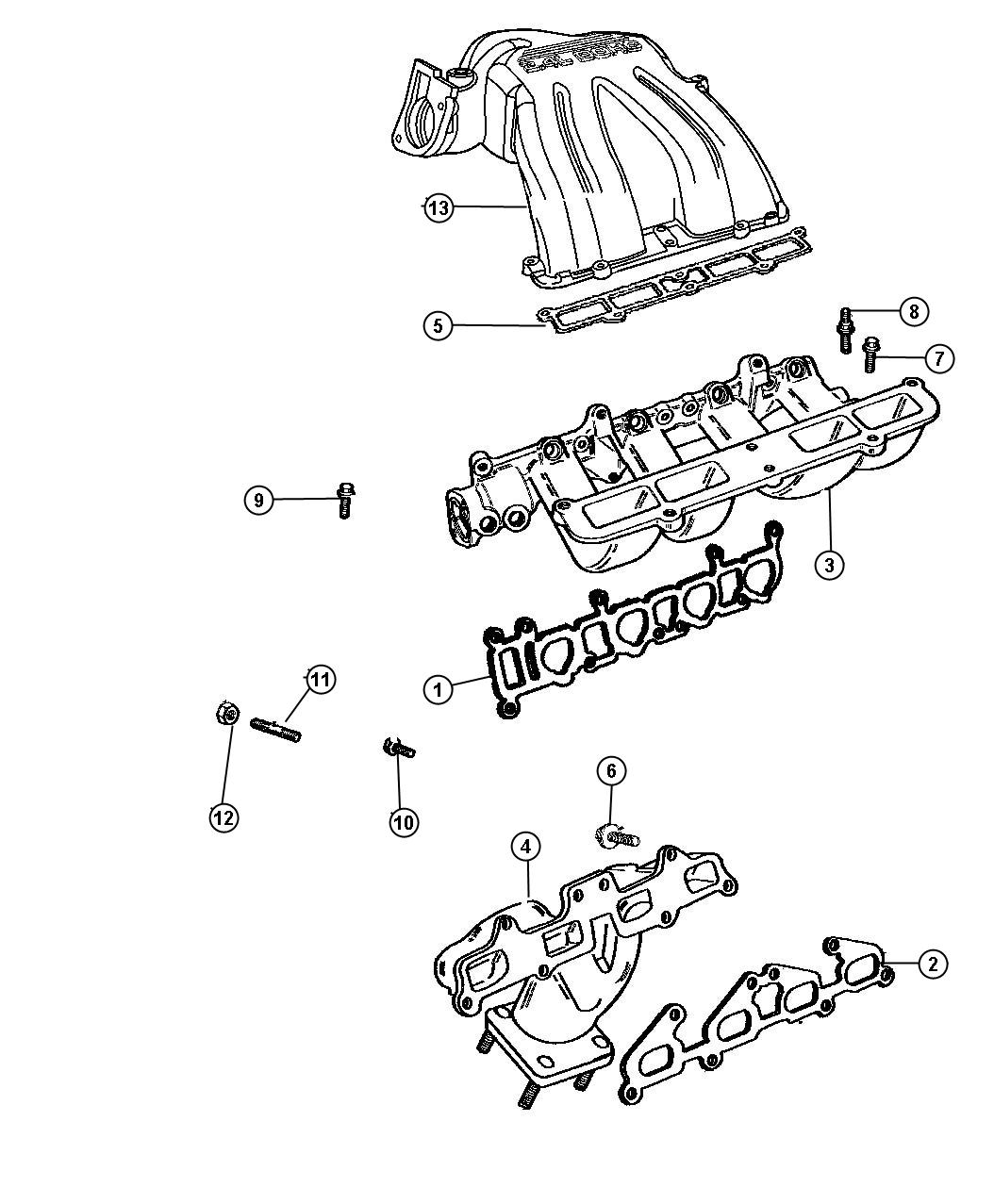 2005 Dodge Caravan Manifolds, Intake and Exhaust 2.4L