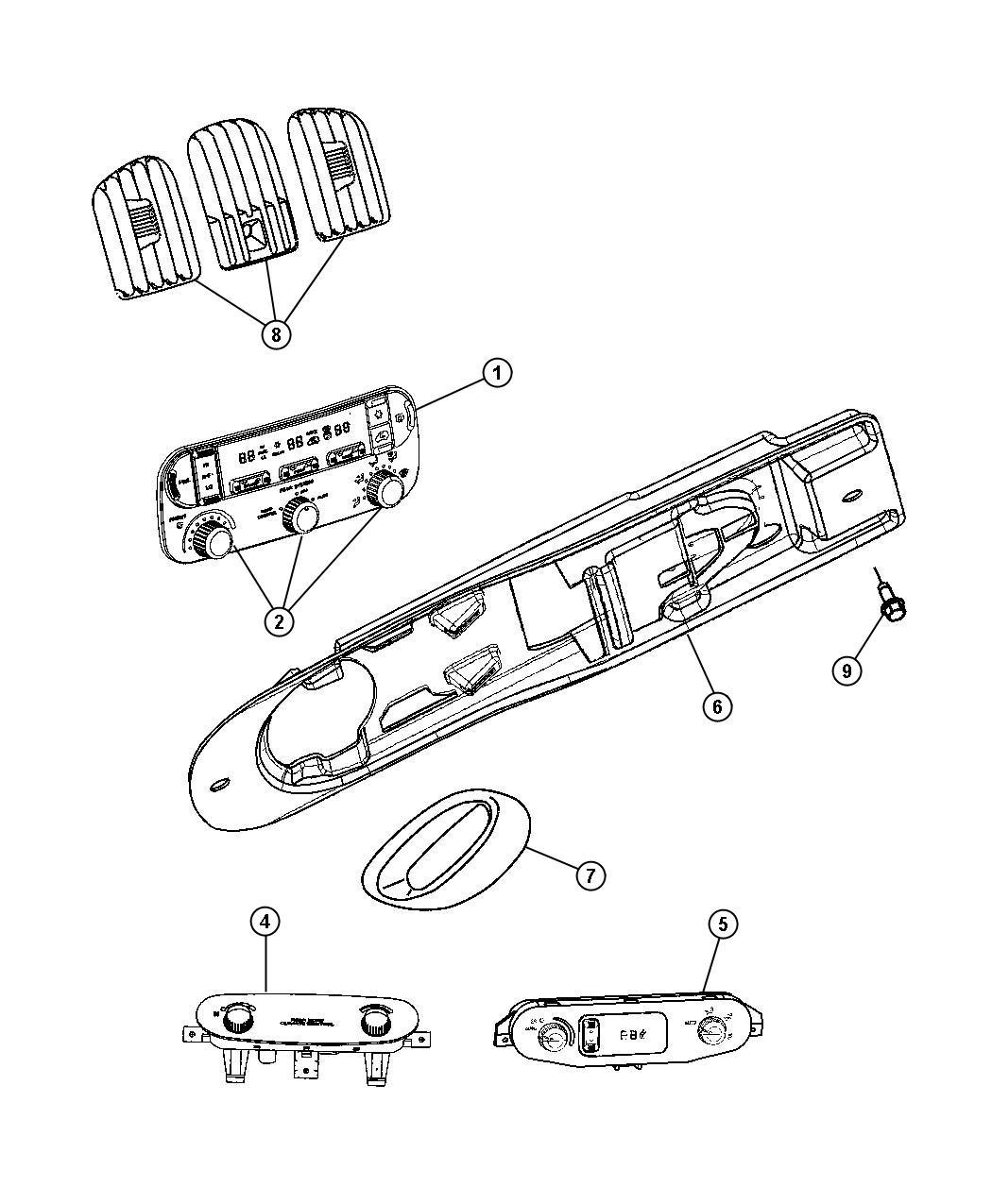 2005 Dodge Grand Caravan Controls, A/C and Heater.