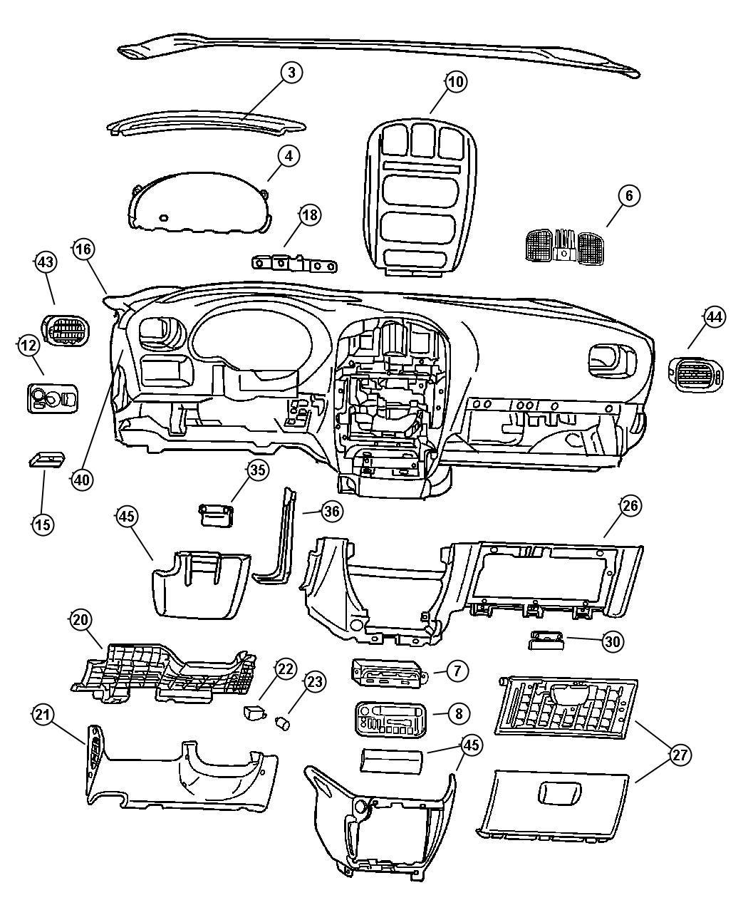 Chrysler Town Amp Country Bezel Instrument Panel Lower